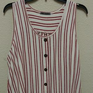 Red/Ivory Strip Pullover Tank